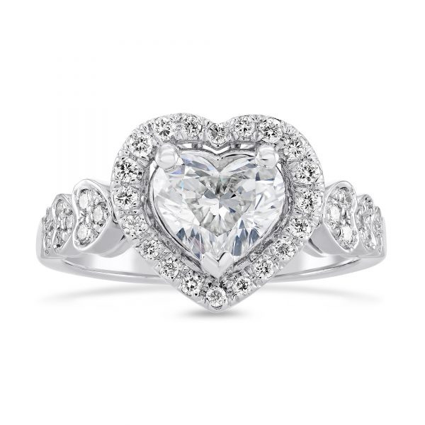 1.50 ctw Heart cut Diamond Engagement Ring 14k Gold
