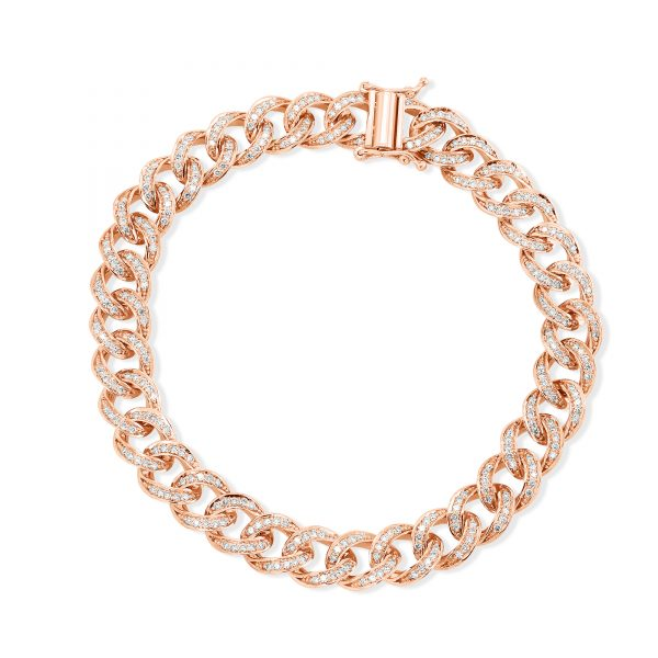 2 ctw Diamond Cuban Bracelet 14k Rose Gold