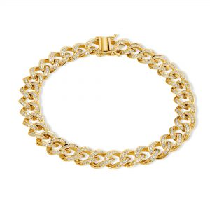 2 ctw Diamond Cuban Bracelet 14k Yellow Gold