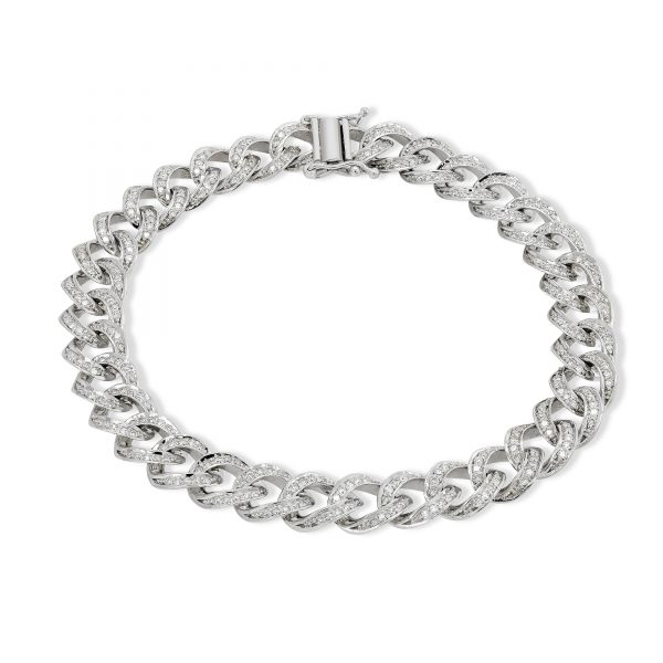 2 ctw Diamond Cuban Bracelet 14k White Gold