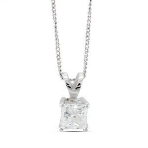 3/4 ct Princess cut Diamond Solitaire Pendant