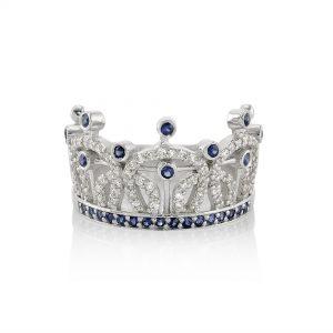 Diamond and Sapphire Crown Diamond Ring