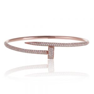 Diamond Nail Bracelet 14k Rose Gold
