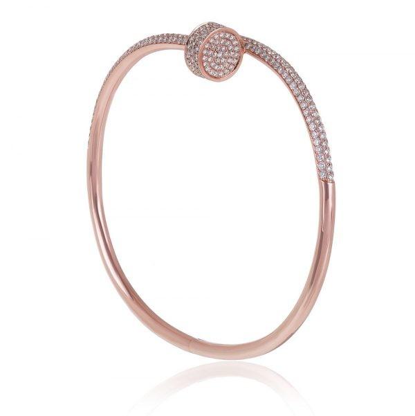 Diamond Nail Bracelet 14k Rose Gold
