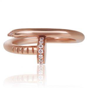 Women's Diamond Nail Ring 14k Rose Gold
