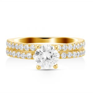 1.75 ctw Round cut Diamond Engagement Ring Wedding Set
