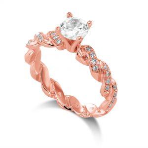 1 ctw Round cut Diamond Engagement Ring 14k Gold