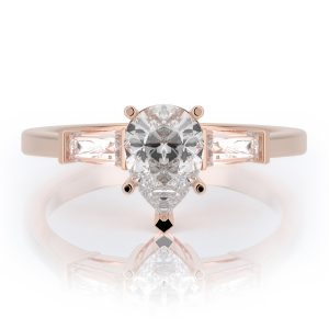 1.50 ctw Pear cut Diamond Engagement Ring 14k Gold
