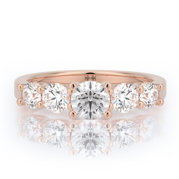 1.00 ctw Round Five Stone Diamond Engagement Ring 14k Gold