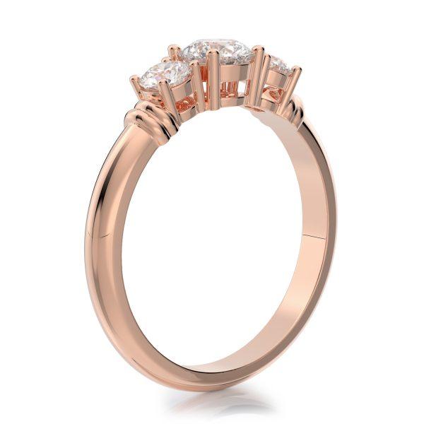 1.00 ctw Round Three Stone Diamond Engagement Ring 14k Gold