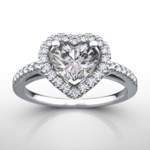 1.50 ctw Heart cut Diamond Engagement Ring 14k Gold