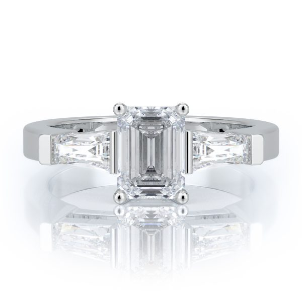 1.30 ctw Emerald cut Diamond Engagement Ring 14k Gold