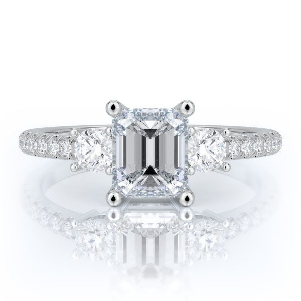 1.50 ctw Emerald cut Diamond Engagement Ring 14k Gold