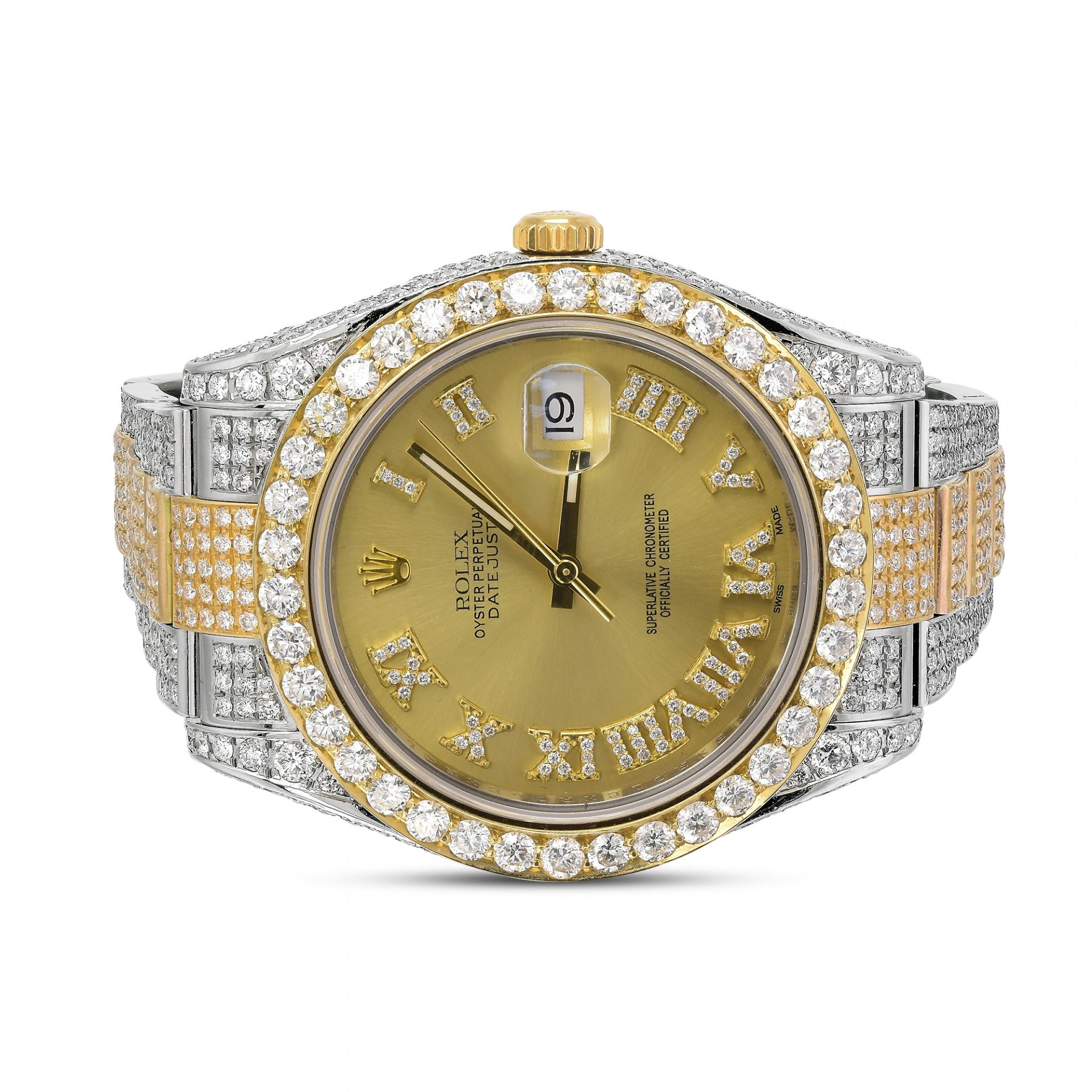2d2717c123ed3 Rolex Datejust II Full Iced Out 41MM Gold Roman Dial 20 ctw Diamond Mens  Watch