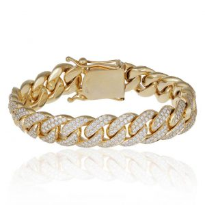 12 ctw Men's Diamond Cuban Bracelet 14k Yellow Gold