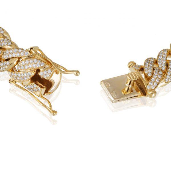 12 ctw Men's Diamond Cuban Bracelet 14k Yellow Gold