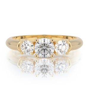 1.00 ctw Round Three Stone Diamond Engagement Ring 14k Gold