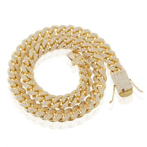 22 ctw Diamond 14mm Cuban Link Chain 32.5 inches 14k Yellow Gold
