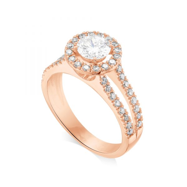 1 ctw Round cut Diamond Engagement Ring 14k Gold