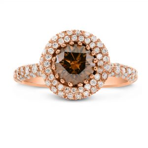 2.00 ctw Round cut Cognac Diamond Engagement Ring