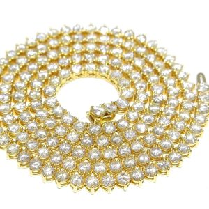 33.20 ct Round Diamond Tennis Chain 14k Yellow Gold