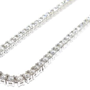 30 ct Round Diamond Tennis Chain 14k White Gold