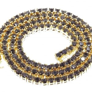 32 ct Black Diamond Tennis Chain 14k Yellow Gold