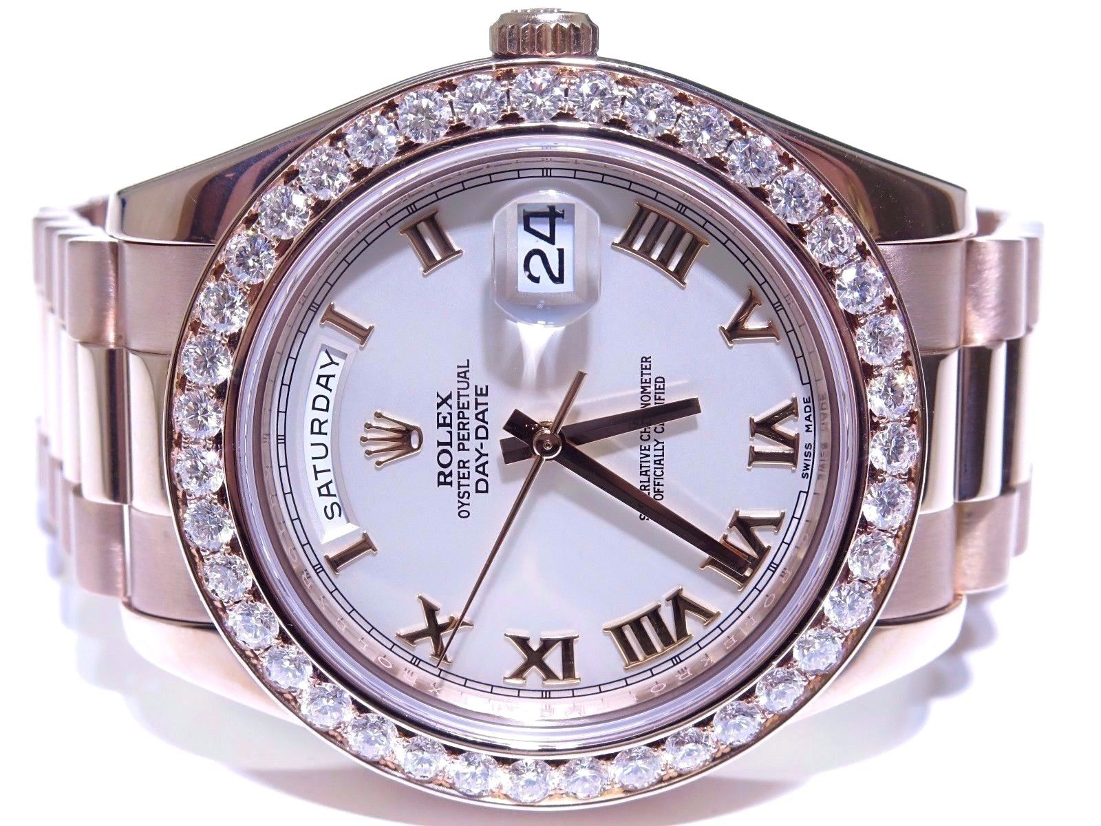 Rolex President Day Date 41mm 320 Ct Diamond Bezel Watch 18k Rose Gold
