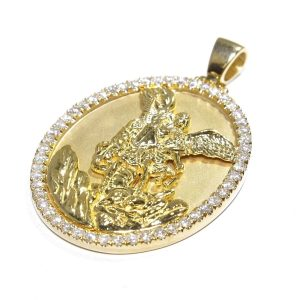 1.20 ctw St. Michael Religious Oval Charm Pendant 14K Yellow Gold