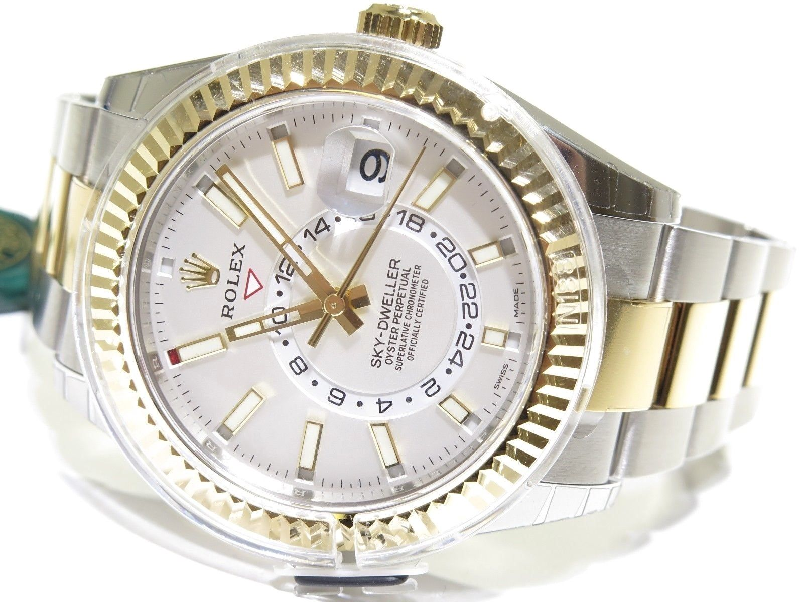 Rolex Sky,Dweller 42MM White Dial Watch Two Tone 18k Yellow Gold/Stainless  Steel