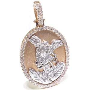 1.50 cts St. Michael Religious Oval Charm Pendant 14K Rose & White Gold