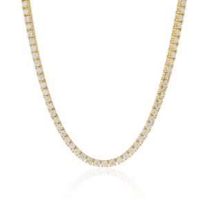 16 ct Diamond Tennis Chain 22 inches 14k Yellow Gold